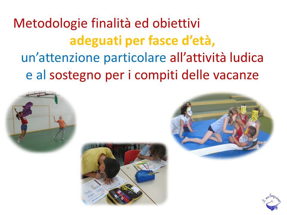 Metodologie finalità ed obiettivi adeguati per fasce d'età, un'attenzione particolare all'attività ludica e al sostegno per i compiti delle vacanze