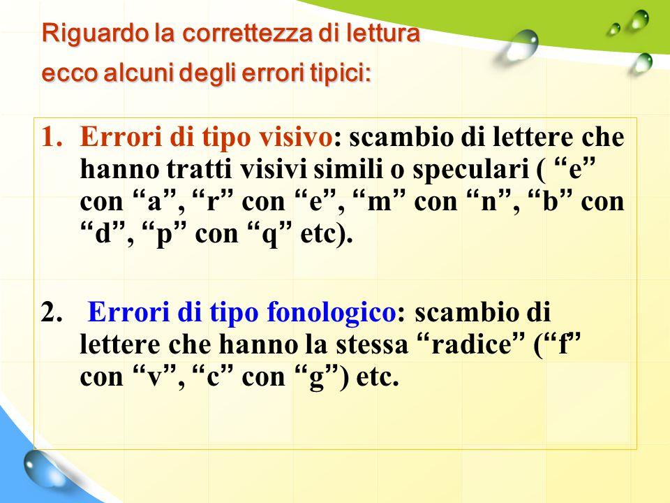 Riguardo la correttezza di lettura ecco alcuni degli errori tipici: 1.Errori di tipo visivo: scambio di lettere che hanno tratti visivi simili o specu