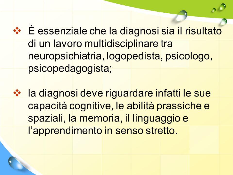  È essenziale che la diagnosi sia il risultato di un lavoro multidisciplinare tra neuropsichiatria, logopedista, psicologo, psicopedagogista;  la di