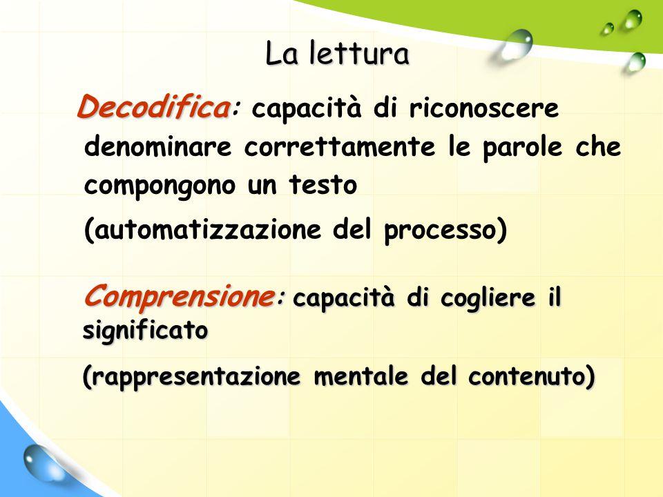 La lettura Decodifica Decodifica : capacità di riconoscere denominare correttamente le parole che compongono un testo (automatizzazione del processo)