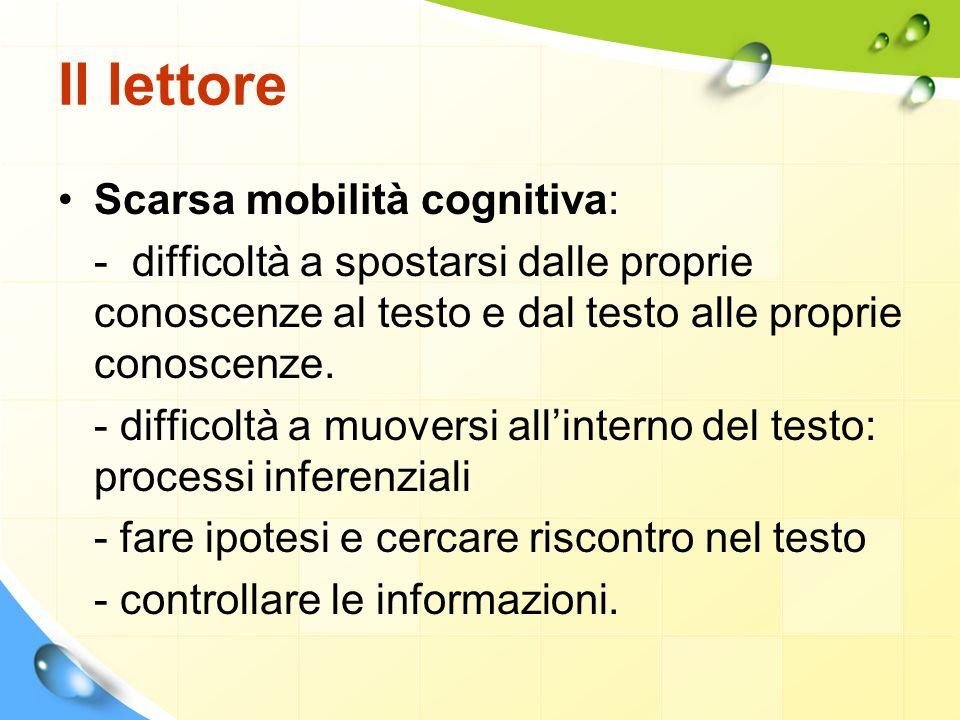 Il lettore Scarsa mobilità cognitiva: - difficoltà a spostarsi dalle proprie conoscenze al testo e dal testo alle proprie conoscenze. - difficoltà a m