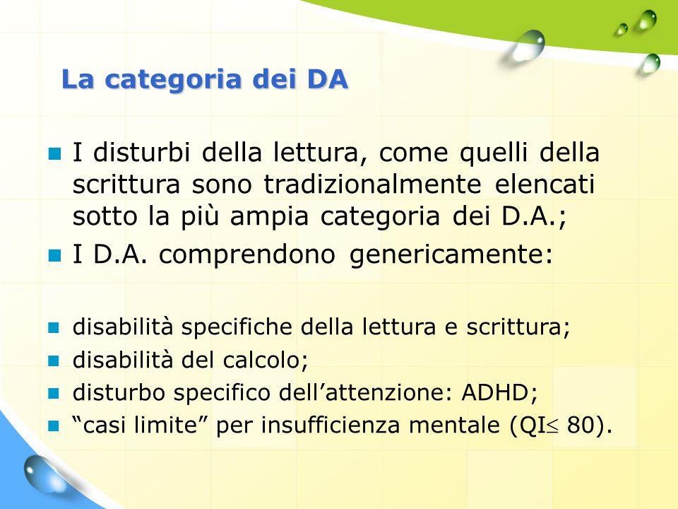 La categoria dei DA I disturbi della lettura, come quelli della scrittura sono tradizionalmente elencati sotto la più ampia categoria dei D.A.; I D.A.