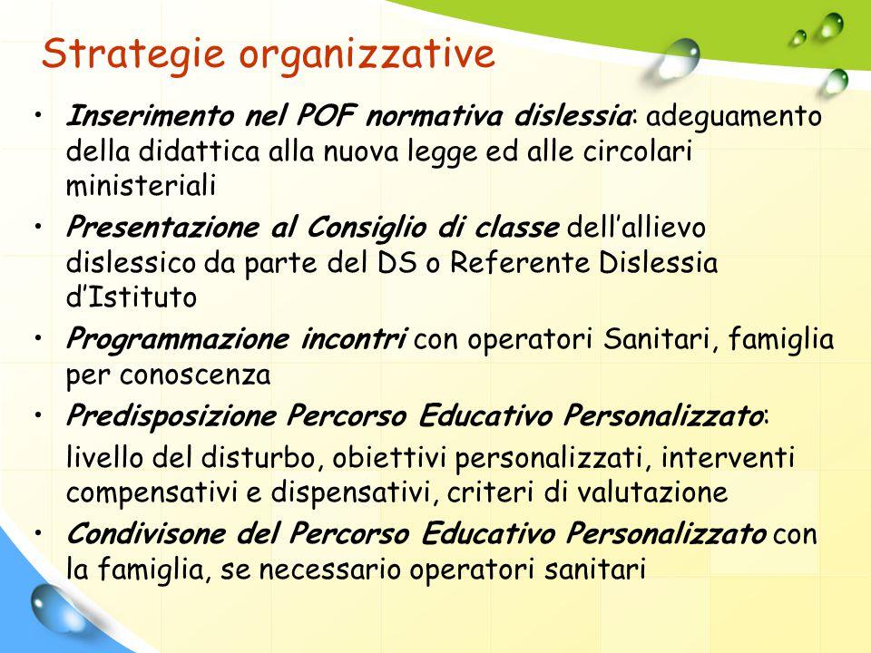 Strategie organizzative Inserimento nel POF normativa dislessia: adeguamento della didattica alla nuova legge ed alle circolari ministeriali Presentaz