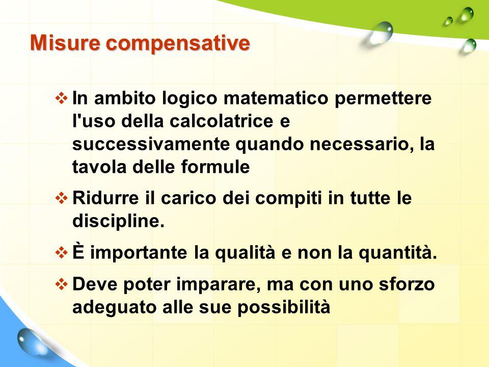 Misure compensative  In ambito logico matematico permettere l'uso della calcolatrice e successivamente quando necessario, la tavola delle formule  R
