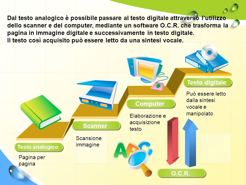 Testo analogico Dal testo analogico è possibile passare al testo digitale attraverso l'utilizzo dello scanner e del computer, mediante un software O.C