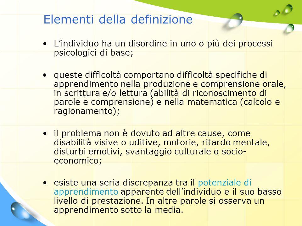 Elementi della definizione L'individuo ha un disordine in uno o più dei processi psicologici di base; queste difficoltà comportano difficoltà specific