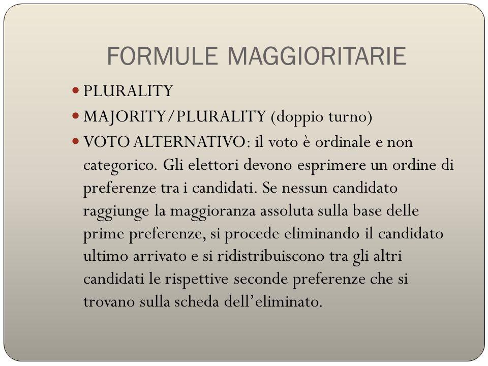 FORMULE MAGGIORITARIE PLURALITY MAJORITY/PLURALITY (doppio turno) VOTO ALTERNATIVO: il voto è ordinale e non categorico. Gli elettori devono esprimere
