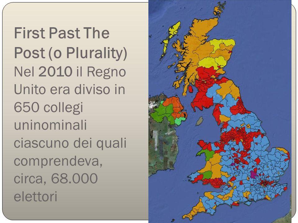 First Past The Post (o Plurality) Nel 2010 il Regno Unito era diviso in 650 collegi uninominali ciascuno dei quali comprendeva, circa, 68.000 elettori