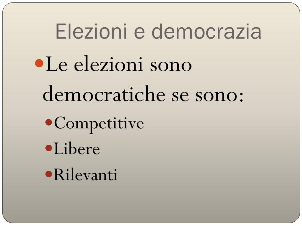 Elezioni e democrazia Le elezioni sono democratiche se sono: Competitive Libere Rilevanti