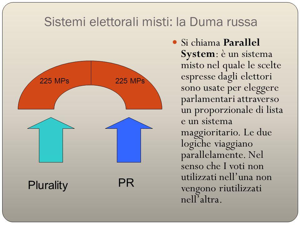Sistemi elettorali misti: la Duma russa Si chiama Parallel System: è un sistema misto nel quale le scelte espresse dagli elettori sono usate per elegg