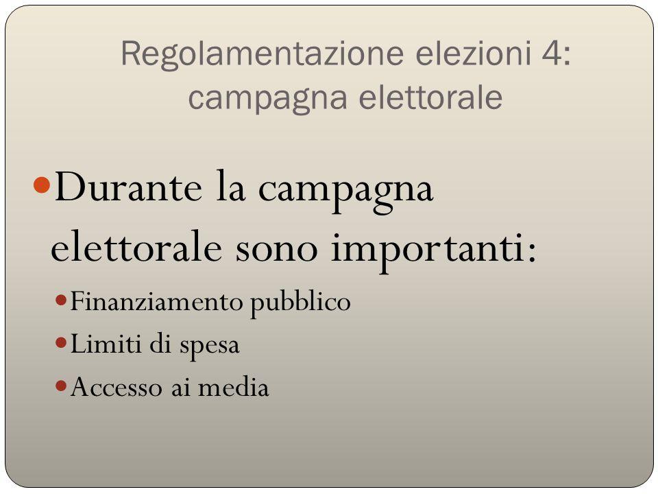 Regolamentazione elezioni 4: campagna elettorale Durante la campagna elettorale sono importanti: Finanziamento pubblico Limiti di spesa Accesso ai med