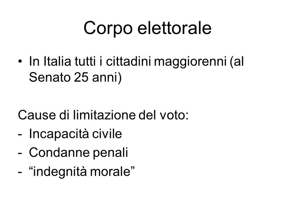 Corpo elettorale In Italia tutti i cittadini maggiorenni (al Senato 25 anni) Cause di limitazione del voto: -Incapacità civile -Condanne penali - indegnità morale