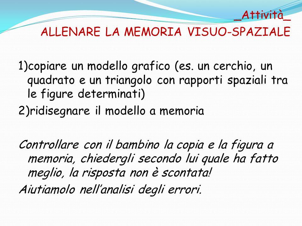 _Attività_ ALLENARE LA MEMORIA VISUO-SPAZIALE 1)copiare un modello grafico (es. un cerchio, un quadrato e un triangolo con rapporti spaziali tra le fi
