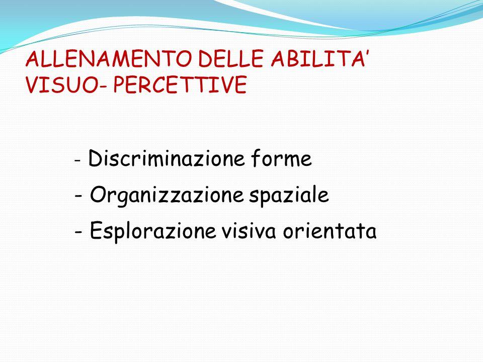 ALLENAMENTO DELLE ABILITA' VISUO- PERCETTIVE - Discriminazione forme - Organizzazione spaziale - Esplorazione visiva orientata