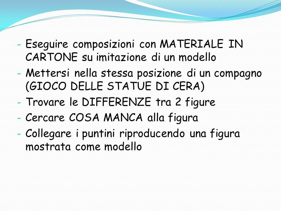 - Eseguire composizioni con MATERIALE IN CARTONE su imitazione di un modello - Mettersi nella stessa posizione di un compagno (GIOCO DELLE STATUE DI C