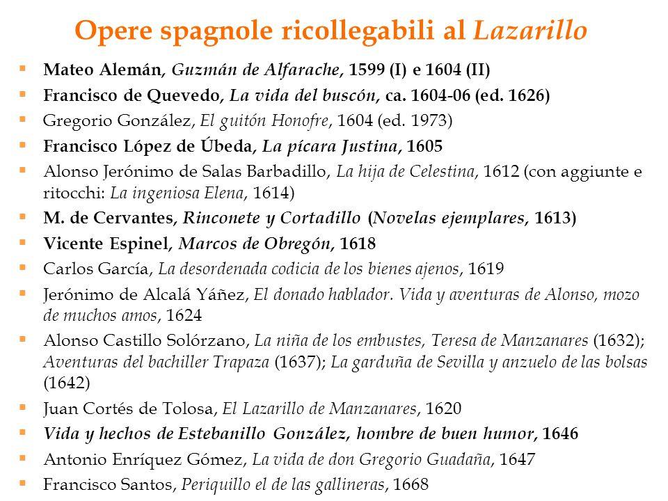 Opere spagnole ricollegabili al Lazarillo  Mateo Alemán, Guzmán de Alfarache, 1599 (I) e 1604 (II)  Francisco de Quevedo, La vida del buscón, ca. 16