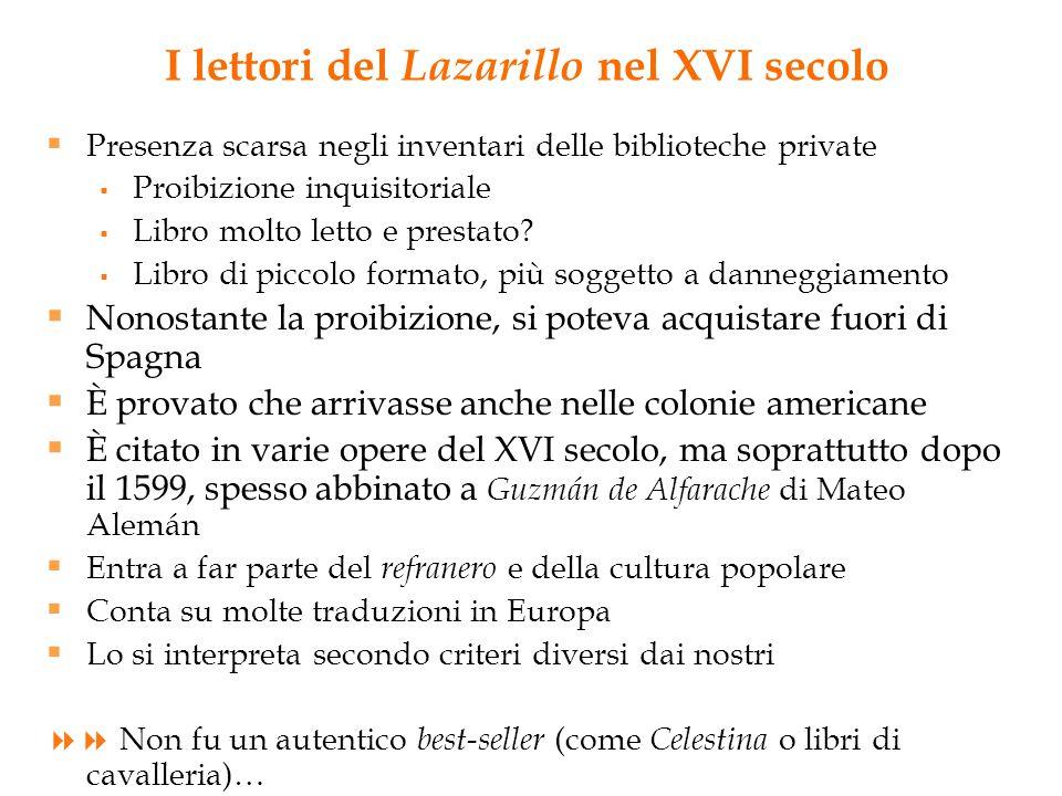 I lettori del Lazarillo nel XVI secolo  Presenza scarsa negli inventari delle biblioteche private  Proibizione inquisitoriale  Libro molto letto e prestato.