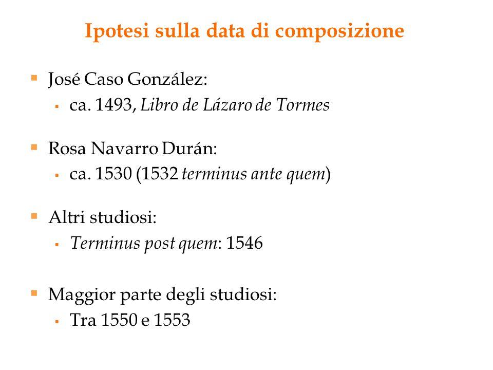 Ipotesi sulla data di composizione  José Caso González:  ca. 1493, Libro de Lázaro de Tormes  Rosa Navarro Durán:  ca. 1530 (1532 terminus ante qu