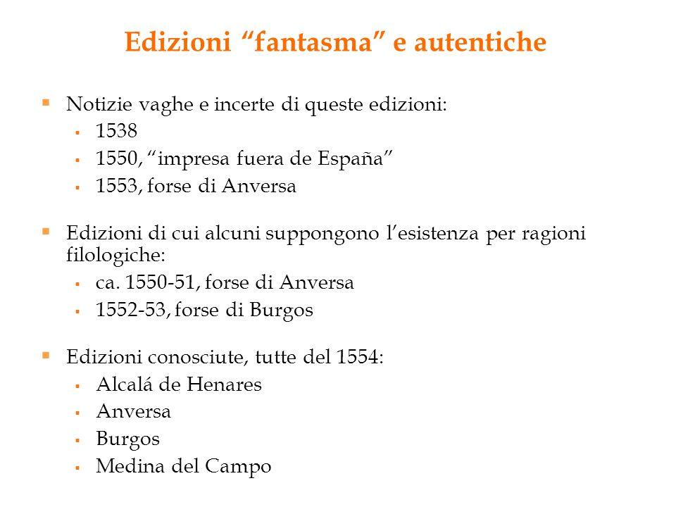 """Edizioni """"fantasma"""" e autentiche  Notizie vaghe e incerte di queste edizioni:  1538  1550, """"impresa fuera de España""""  1553, forse di Anversa  Edi"""