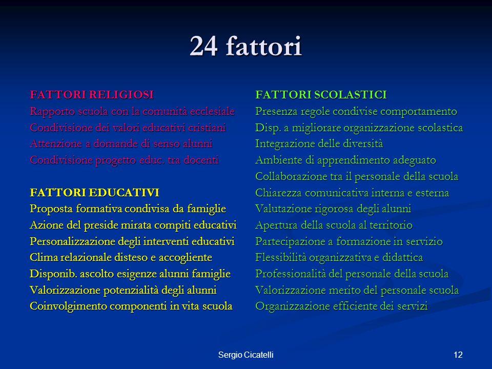 12Sergio Cicatelli 24 fattori FATTORI RELIGIOSI Rapporto scuola con la comunità ecclesiale Condivisione dei valori educativi cristiani Attenzione a do