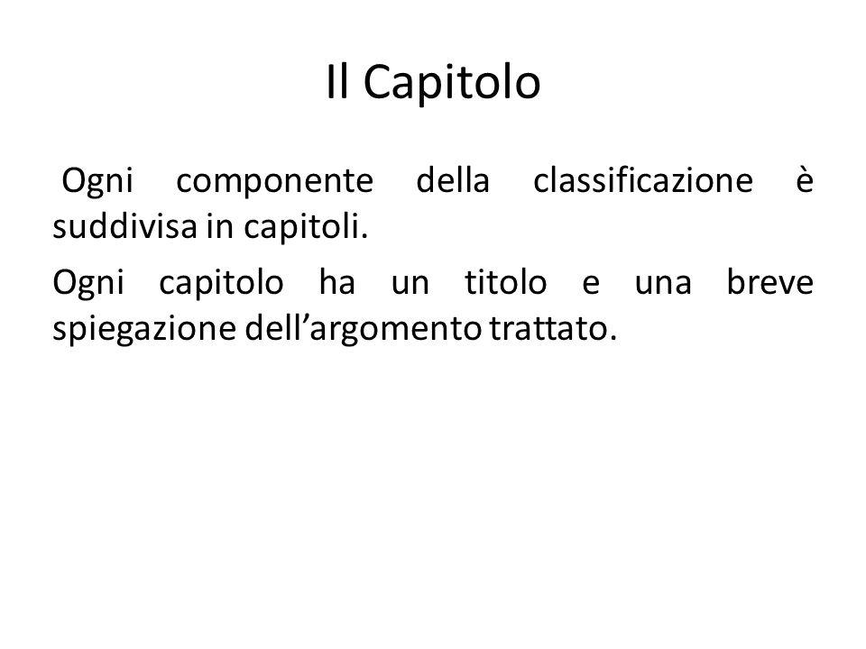 Il Capitolo Ogni componente della classificazione è suddivisa in capitoli.