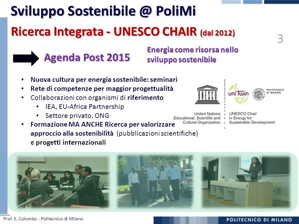 Ricerca Integrata - UNESCO CHAIR (dal 2012) Nuova cultura per energia sostenibile: seminari Rete di competenze per maggior progettualità Collaborazion