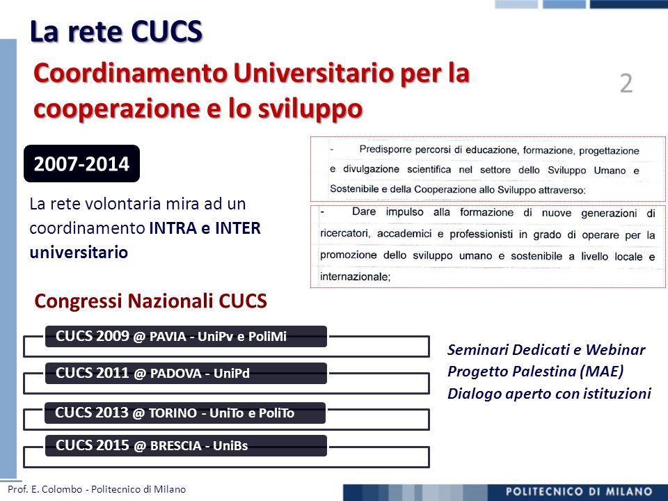 Congressi Nazionali CUCS La rete volontaria mira ad un coordinamento INTRA e INTER universitario 2007-2014 CUCS 2009 @ PAVIA - UniPv e PoliMi CUCS 201