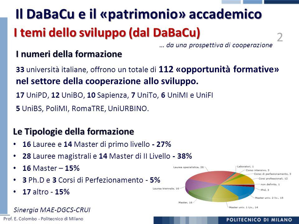 I numeri della formazione 33 università italiane, offrono un totale di 112 «opportunità formative» nel settore della cooperazione allo sviluppo. 17 Un