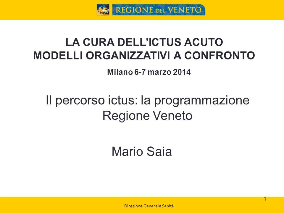 Segreteria Regionale per la Sanità Tasso osservato di eventi ictus (per 100.000 ab.) Residenti Veneto 2006-2012 2
