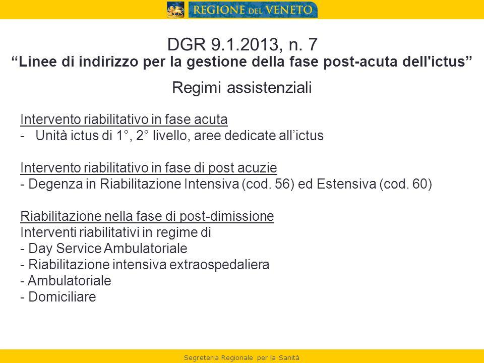 """Segreteria Regionale per la Sanità DGR 9.1.2013, n. 7 """"Linee di indirizzo per la gestione della fase post-acuta dell'ictus"""" Regimi assistenziali Inter"""