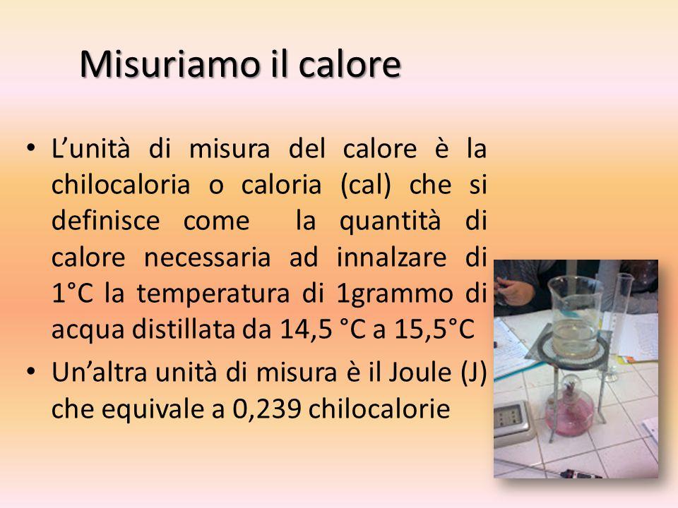 Misuriamo il calore L'unità di misura del calore è la chilocaloria o caloria (cal) che si definisce come la quantità di calore necessaria ad innalzare di 1°C la temperatura di 1grammo di acqua distillata da 14,5 °C a 15,5°C Un'altra unità di misura è il Joule (J) che equivale a 0,239 chilocalorie