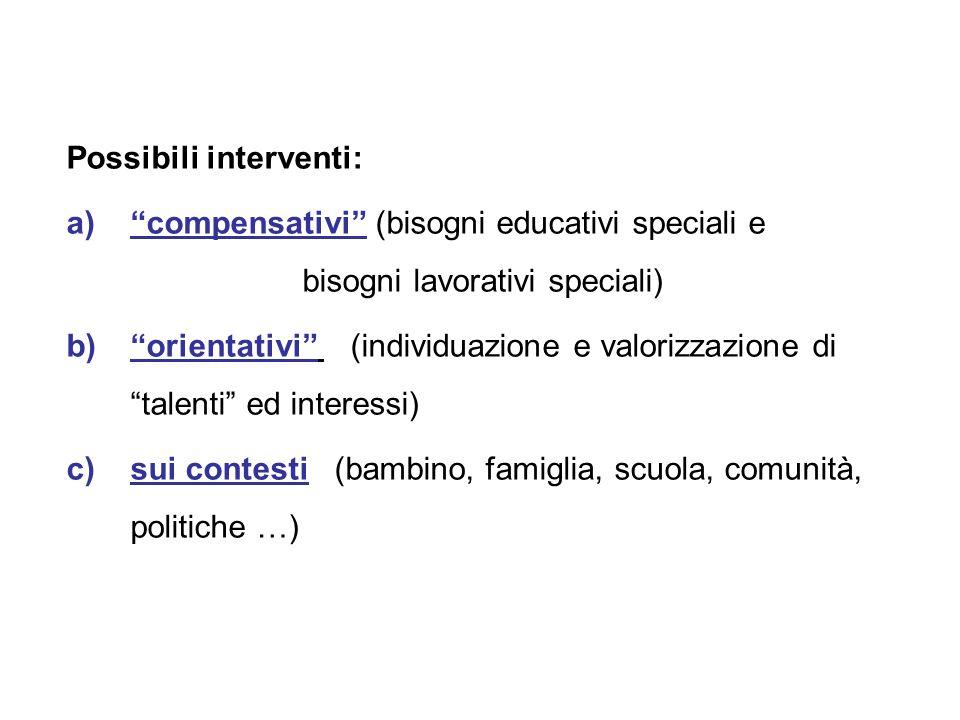 """Possibili interventi: a)""""compensativi"""" (bisogni educativi speciali e bisogni lavorativi speciali) b)""""orientativi"""" (individuazione e valorizzazione di"""