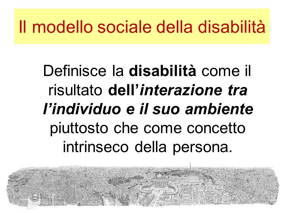 Il modello sociale della disabilità Definisce la disabilità come il risultato dell'interazione tra l'individuo e il suo ambiente piuttosto che come co