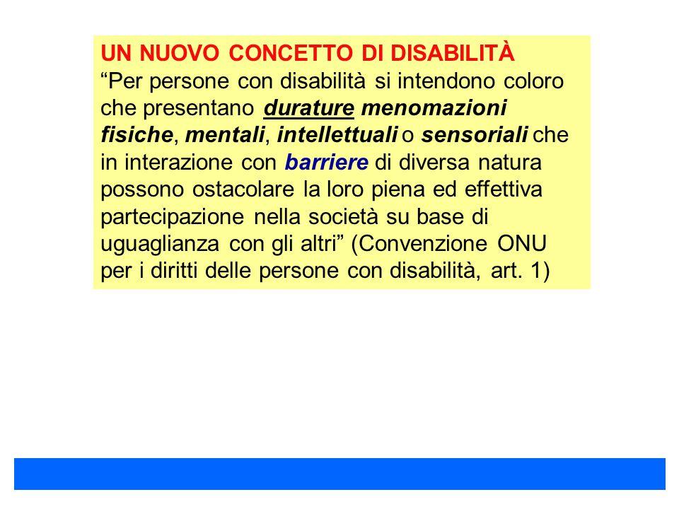 """UN NUOVO CONCETTO DI DISABILITÀ """"Per persone con disabilità si intendono coloro che presentano durature menomazioni fisiche, mentali, intellettuali o"""