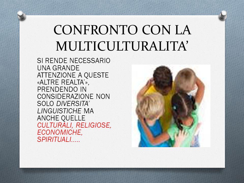 CONFRONTO CON LA MULTICULTURALITA' SI RENDE NECESSARIO UNA GRANDE ATTENZIONE A QUESTE «ALTRE REALTA'», PRENDENDO IN CONSIDERAZIONE NON SOLO DIVERSITA' LINGUISTICHE MA ANCHE QUELLE CULTURALI, RELIGIOSE, ECONOMICHE, SPIRITUALI…..