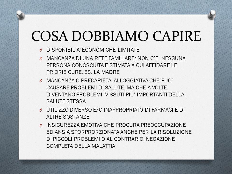 COSA DOBBIAMO CAPIRE O DISPONIBILIA' ECONOMICHE LIMITATE O MANCANZA DI UNA RETE FAMILIARE: NON C'E' NESSUNA PERSONA CONOSCIUTA E STIMATA A CUI AFFIDARE LE PRIORIE CURE, ES.