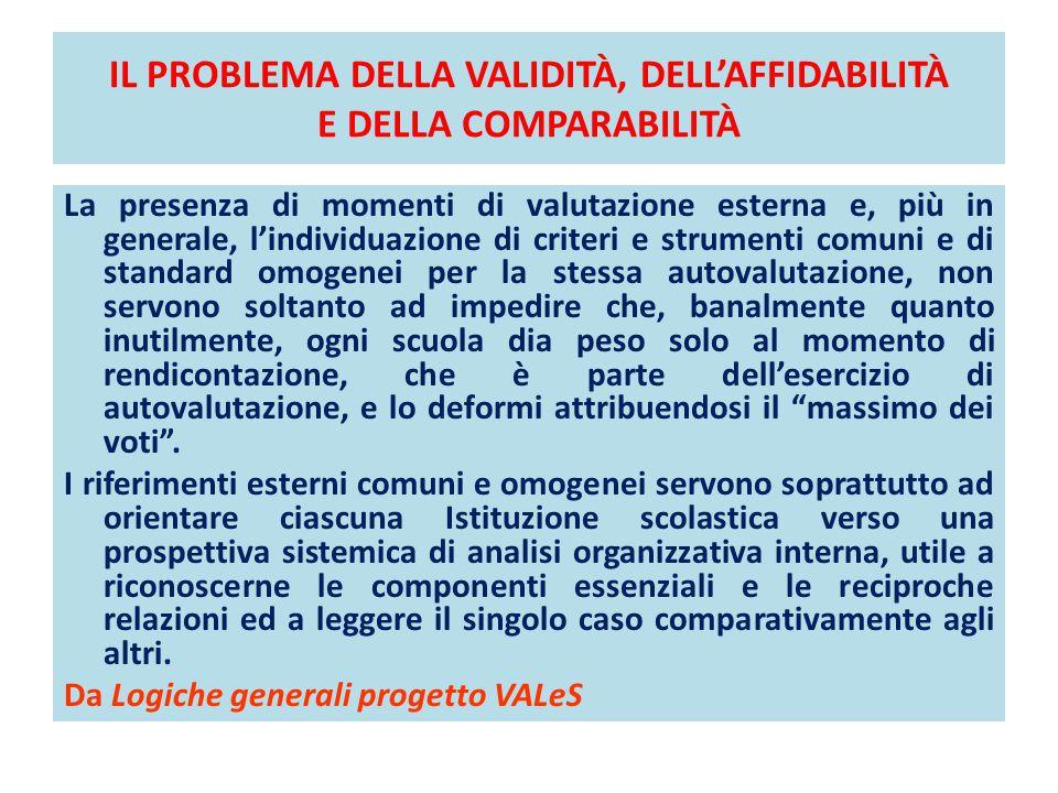 IL PROBLEMA DELLA VALIDITÀ, DELL'AFFIDABILITÀ E DELLA COMPARABILITÀ La presenza di momenti di valutazione esterna e, più in generale, l'individuazione