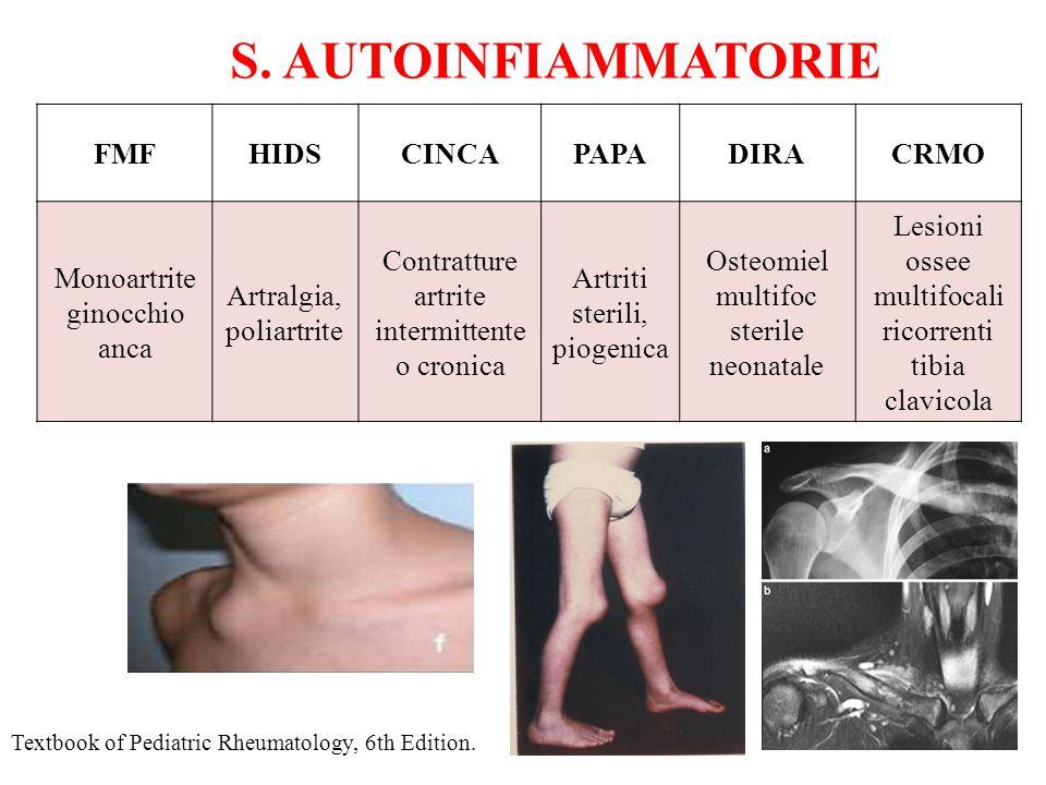 S. AUTOINFIAMMATORIE FMFHIDSCINCAPAPADIRACRMO Monoartrite ginocchio anca Artralgia, poliartrite Contratture artrite intermittente o cronica Artriti st