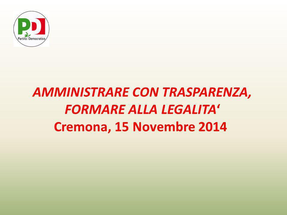 AMMINISTRARE CON TRASPARENZA, FORMARE ALLA LEGALITA' Cremona, 15 Novembre 2014
