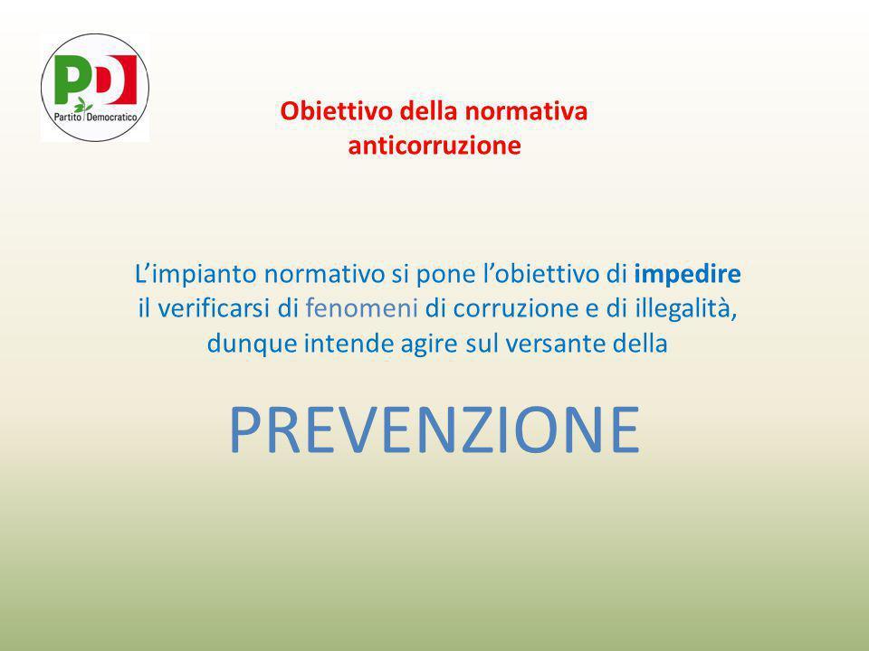 Obiettivo della normativa anticorruzione L'impianto normativo si pone l'obiettivo di impedire il verificarsi di fenomeni di corruzione e di illegalità, dunque intende agire sul versante della PREVENZIONE