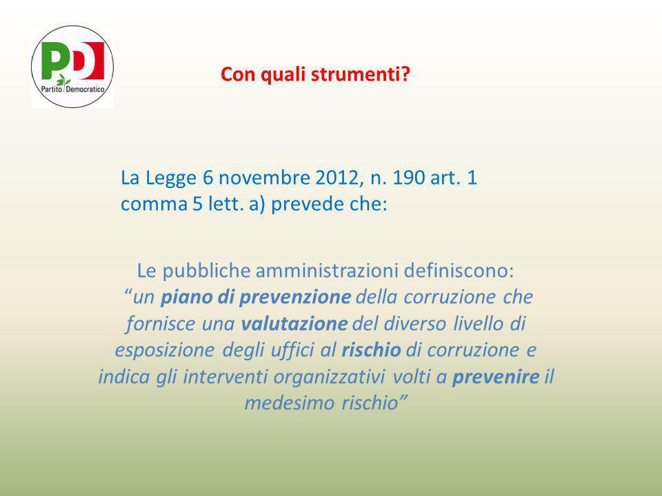 Con quali strumenti. La Legge 6 novembre 2012, n.