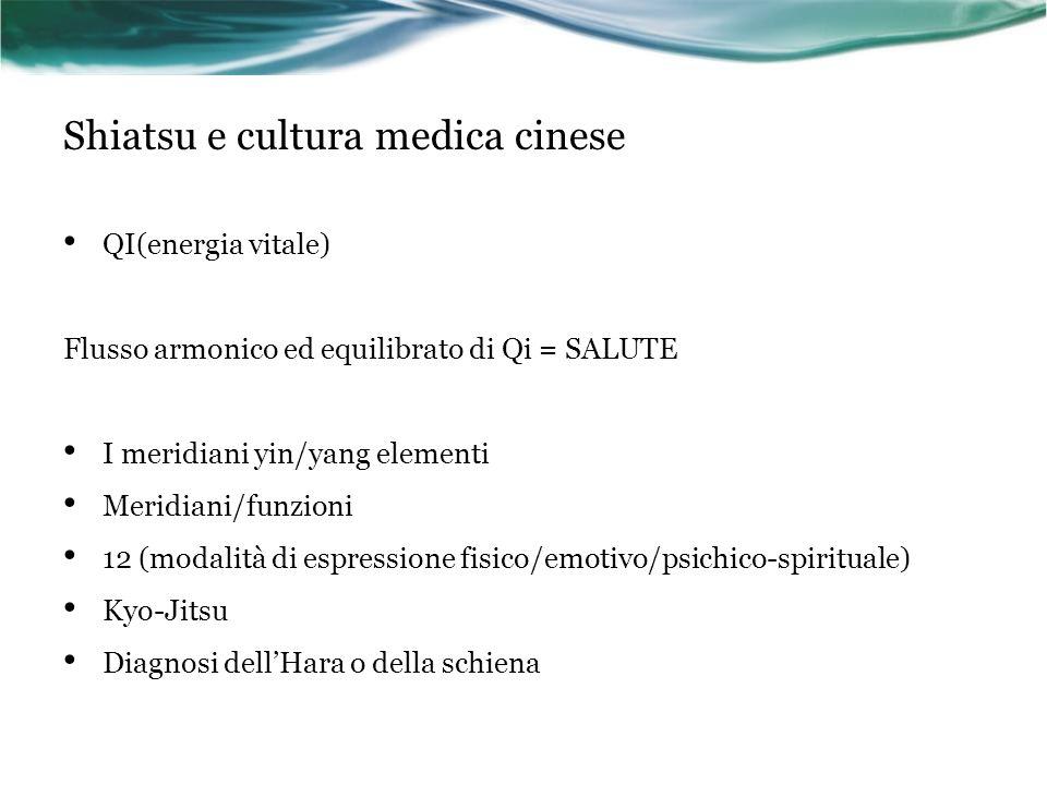 Shiatsu e cultura medica cinese QI(energia vitale) Flusso armonico ed equilibrato di Qi = SALUTE I meridiani yin/yang elementi Meridiani/funzioni 12 (