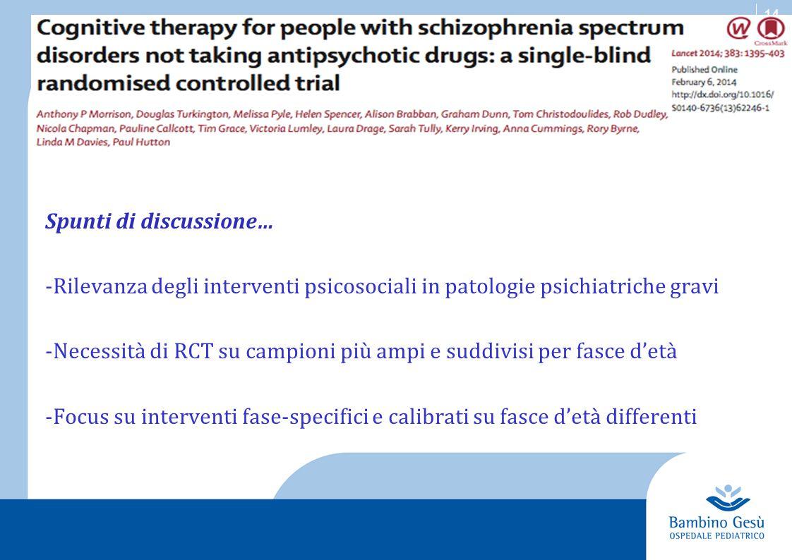 14 Spunti di discussione… -Rilevanza degli interventi psicosociali in patologie psichiatriche gravi -Necessità di RCT su campioni più ampi e suddivisi