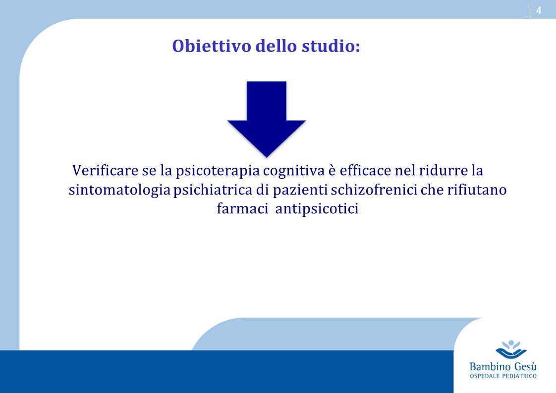 4 Obiettivo dello studio: Verificare se la psicoterapia cognitiva è efficace nel ridurre la sintomatologia psichiatrica di pazienti schizofrenici che