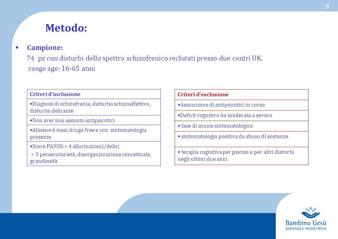 Metodo:  Procedura: RCT, singolo cieco Assegnazione Randomizzata a 2 gruppi: Gruppo 1 Sperimentale Gruppo 2 Controllo (N=37) (N=37) Terapia cognitiva + Treatment as usual Treatment as usual Terapia Cognitiva -Procedura manualizzata (Morrison, 2001) - 30 sessioni terapeutiche in 18 mesi - 8 terapeuti -focus su normalizzazione e ristrutturazione cognitiva Treatment As Usual - Colloqui di supporto -invii ai servizi locali -servizi per la gestione di eventuali crisi