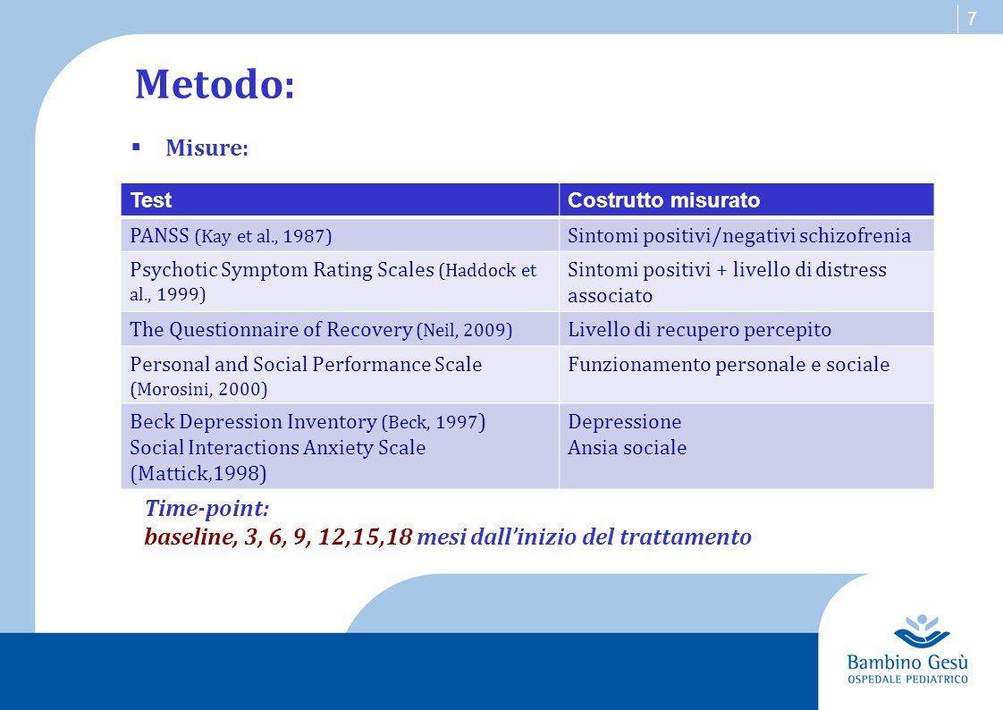 7 Metodo:  Misure: TestCostrutto misurato PANSS (Kay et al., 1987) Sintomi positivi/negativi schizofrenia Psychotic Symptom Rating Scales (Haddock et