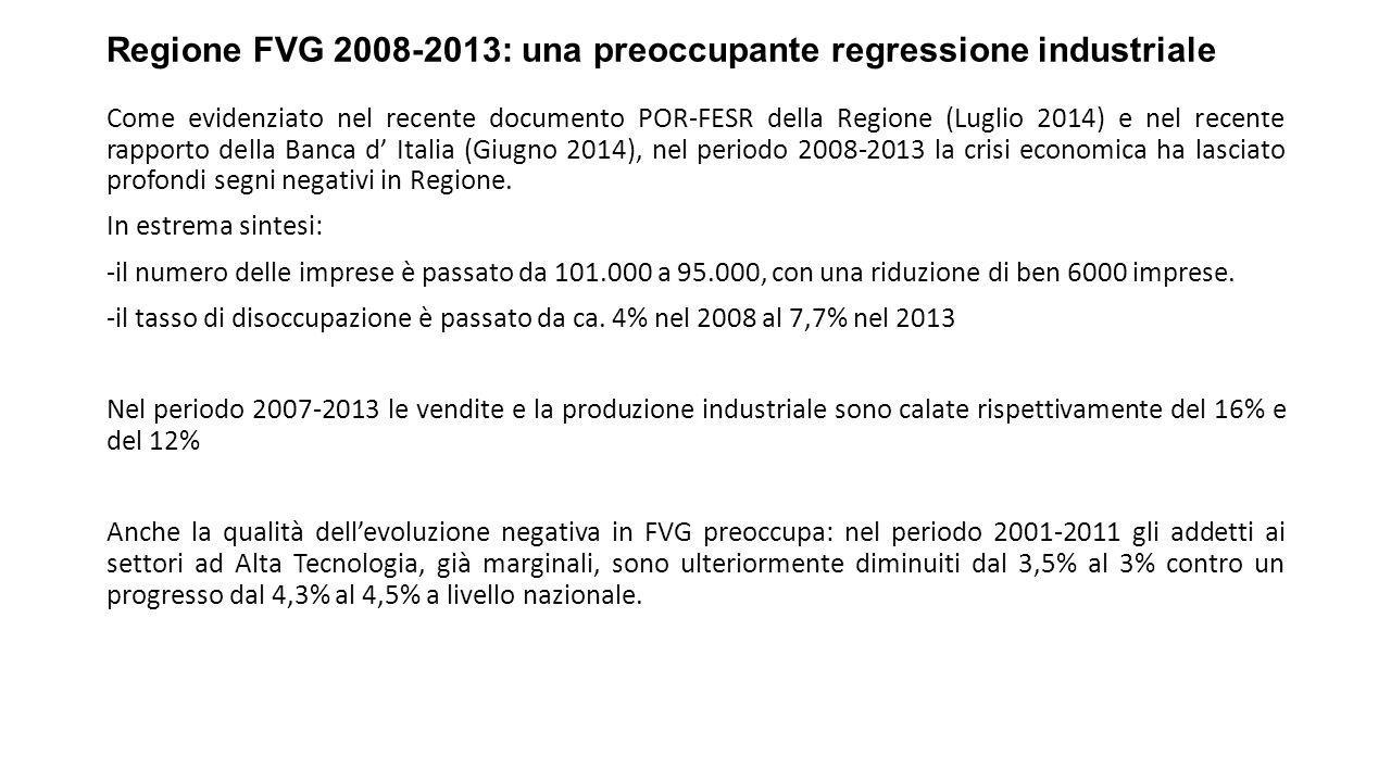 Regione FVG 2008-2013: una preoccupante regressione industriale Come evidenziato nel recente documento POR-FESR della Regione (Luglio 2014) e nel recente rapporto della Banca d' Italia (Giugno 2014), nel periodo 2008-2013 la crisi economica ha lasciato profondi segni negativi in Regione.