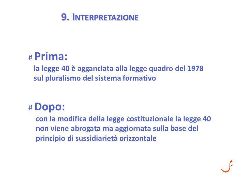 9. I NTERPRETAZIONE # Prima: la legge 40 è agganciata alla legge quadro del 1978 sul pluralismo del sistema formativo # Dopo: con la modifica della le