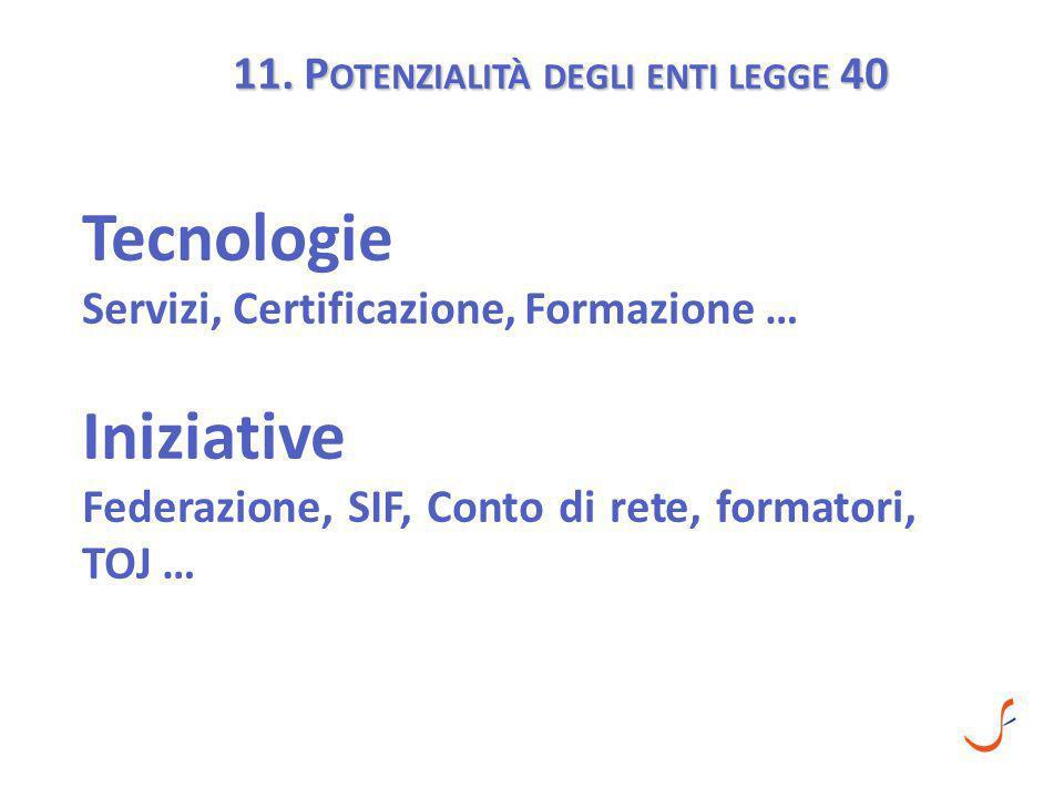 11. P OTENZIALITÀ DEGLI ENTI LEGGE 40 Tecnologie Servizi, Certificazione, Formazione … Iniziative Federazione, SIF, Conto di rete, formatori, TOJ …
