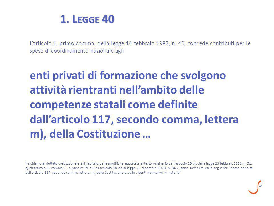1. L EGGE 40 L'articolo 1, primo comma, della legge 14 febbraio 1987, n. 40, concede contributi per le spese di coordinamento nazionale agli enti priv